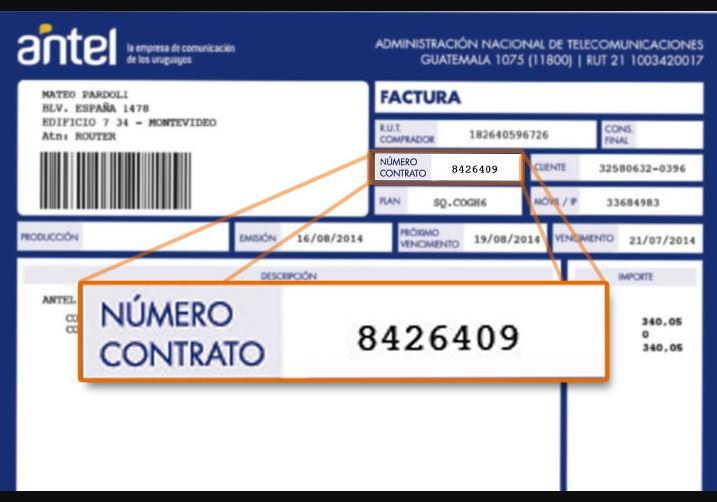 Duplicado factura Antel fijo por número